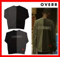 人気★【OVERR】★18FW INCISION PIGMENT BLACK SWEATSHIRTS★