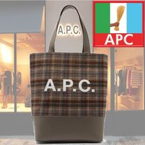 【18AW】★A.P.C.★Axel leather-panelled tartan felt tote bag