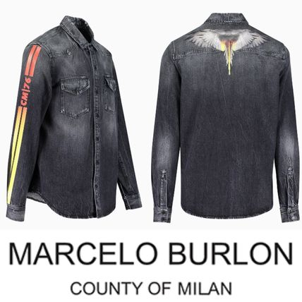 芸能人愛用☆Marcelo Burlon☆Strong Wash Wings Denim SHIRT