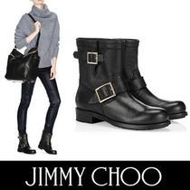 Jimmy Choo YOUTH-LINED ブラックバイカーラビットファーブーツ