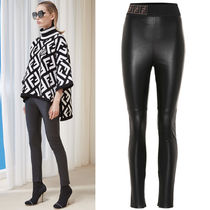 FE2263 LAMB LEATHER SKINNY PANTS WITH FF LOGO BAND