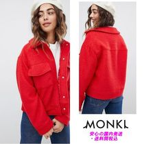 Monki textured short jacket with oversized pockets in red♪