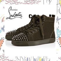 Christian Louboutin  Lou Spikes ハイカット スニーカー カーキ