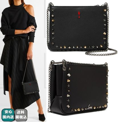 VIP SALE☆全込【ルブタン 】SMALL TRILOUBI SPIKED LEATHER BAG