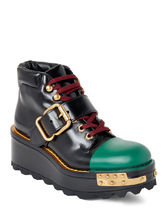 稀少 PRADA(プラダ) Black & Green Platform Wedge Combat Boots