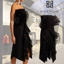 【18AW】GIVENCHY ★Strapless ruffle-trimmed wool midi dress