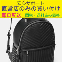 QUILTED BACKPACK-ブラックのバックパックスタイル-キルティング