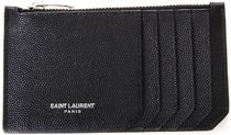 SAINT LAURENT●BLACK レザー CARDS ケース GRAIN DE POUDRE