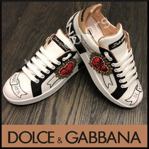 DOLCE&GABBANA 18AW新作 ハートパッチ ロゴ プリント スニーカー