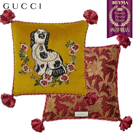 GUCCI クッション・クッションカバー 【正規品保証】GUCCI★18秋冬★DOG EMBROIDERED VELVET PILLOW