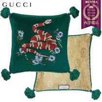 【正規品保証】GUCCI★18秋冬★SNAKE EMBROIDERED VELVET PILLOW