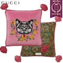【正規品保証】GUCCI★18秋冬★CAT EMBROIDERED VELVET PILLOW