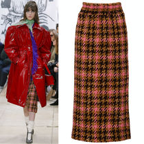 MM632 LOOK19 CHECKED BOUCLE KNIT SKIRT