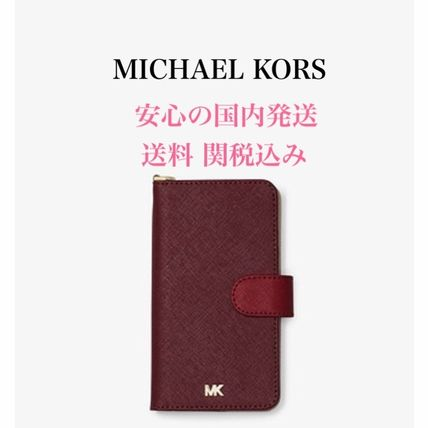 Michael Kors iPhone・スマホケース *国内発送* MK Color-Block Saffiano Leather Folio iPhone X
