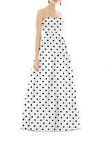 ALFRED SUNG(アルフレッドソン) ドレス-ロング 日本未発売☆ALFRED SUNG☆送料込☆Strapless Dot Sateen Gown