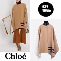 ★Chloe★*関税・送料込*Color-block WOOL PATCHWORK CAPE