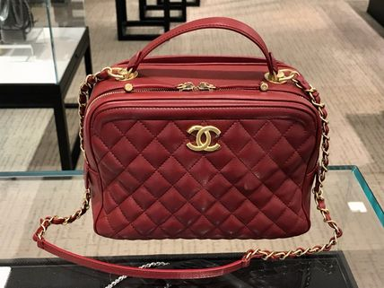 ★2018FW最新作CHANEL★Quilted Vanity Case in Burgundy or BLK