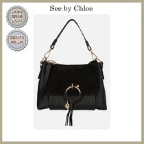 2018-19AW See by Chloe small Joan leather and suede bag