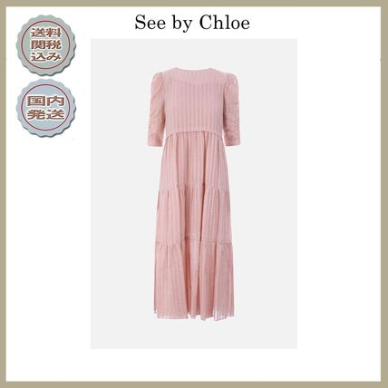 2018-19AW See by Chloe long dress with flounced skirt