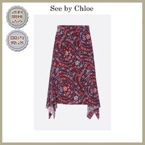 2018-19AW See by Chloe floral print crepe skirt