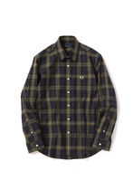 フレッドペリー  F4486 70 LAUREL LEAF DYED TARTAN SHIRT BLACK