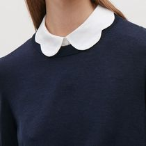 """COS""  MOCK SHIRT WITH SCALLOP COLLAR WHITE"