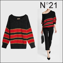 N21 numero ventuno★Off-Shoulder Striped Cotton Pullover