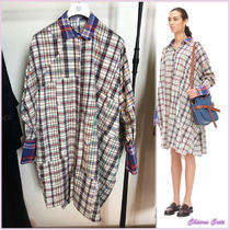 【18AW NEW】LOEWE_women/Ov Check Shirtdressシャツワンピ/BL