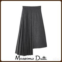 MassimoDutti♪LIMITED EDITION WOOL SKIRT WITH SIDE PLEATING