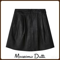 MassimoDutti♪PLEATED NAPPA LEATHER SKIRT