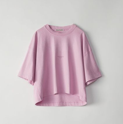 Acne Tシャツ・カットソー [Acne] Cylea T-shirt フロントロゴ入ボクシーTシャツ ピンク