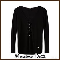 MassimoDutti♪RIBBED LYOCELL T-SHIRT WITH BUTTONS