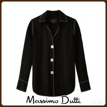 MassimoDutti♪SHIRT WITH CONTRASTING TOPSTITCHING