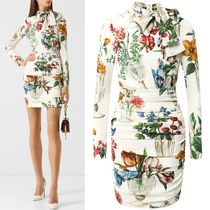 18-19AW DG1770 FLORAL PRINT SILK CHARMEUSE DRESS
