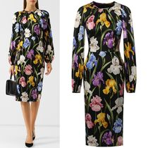18-19AW DG1771 IRIS PRINT SILK CHARMEUSE DRESS
