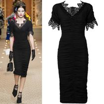 18-19AW DG1773 LOOK27 MACRAME LACE TRIMMED GEORGETTE DRESS