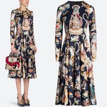 18-19AW DG1775 CAPODIMONTE PRINT SILK SATIN DRESS