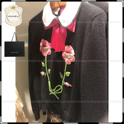 GUCCI Tシャツ・カットソー SALE【国内発送】GUCCI◆クラシカルな花刺繍カットソー