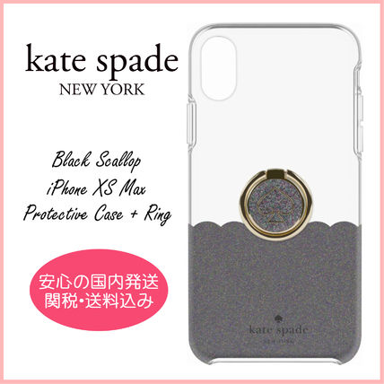 kate spade new york スマホケース・テックアクセサリー 【国内発送】Black Scallop iPhone XS Max Protective Case+Ring