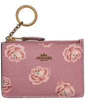 COACH Rose-Print Mini ID Skinny Wallet セール!!