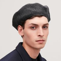 """COS MEN""  WOOL BERET WITH LEATHER TRIM CHARCOAL"