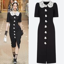 18-19AW DG1781 LOOK51 EMBELLISHED WOOL CREPE DRESS
