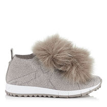 ★間税込 Opal Grey Knit and Lurex Trainers with Faux Fur