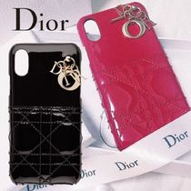 "DIOR*カーフスキン ""LADY DIOR"" IPHONE X ケース BLACK&RED"