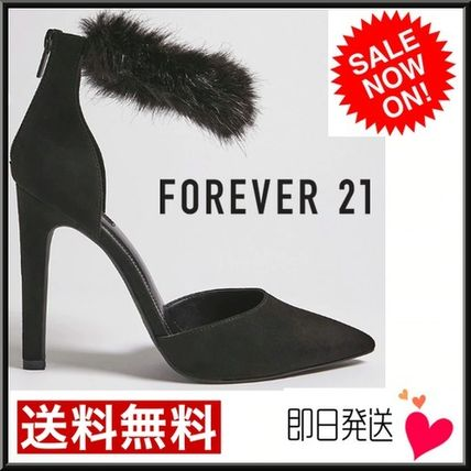 Forever21 パンプス 【Forever21】美脚効果☆ハイヒール ブラック パンプス ファー