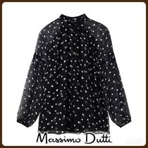 MassimoDutti♪FIL COUPE SILK BLOUSE WITH TWO-TONE PRINT