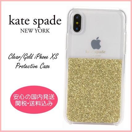 kate spade new york スマホケース・テックアクセサリー 【国内発送】Clear/Gold iPhone XS Protective Case セール