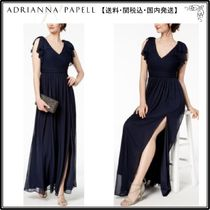 【海外限定】AdriannaPapellガウン☆Pleated Illusion-Sleeve Go