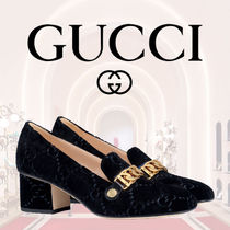 【GUCCI グッチ】ローファー Sylvie Decollette GG 55mm Black