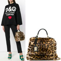 18-19AW DG1817 LEOPARD FAUX FUR SICILY SOFT BAG